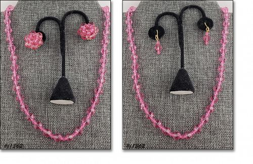 Vintage Pink Glass Bead Necklace and 2 Pairs Of Earrings