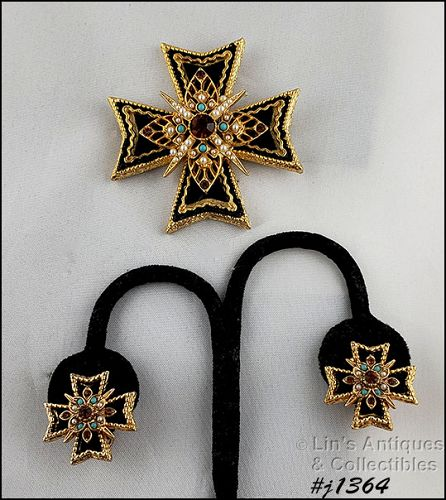 Signed Art Vintage Maltese Cross Pin and Matching Earrings