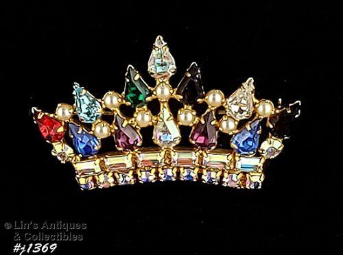 Vintage B David Rhinestone Crown Pin