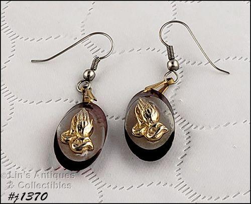 Vintage Praying Hands Pierced Dangle Earrings