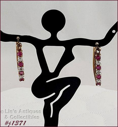 Sterling Silver Ruby and Diamond Pierced Earrings