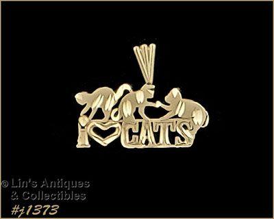 Michael Anthony 14k Yellow Gold I Love Cats Pendant