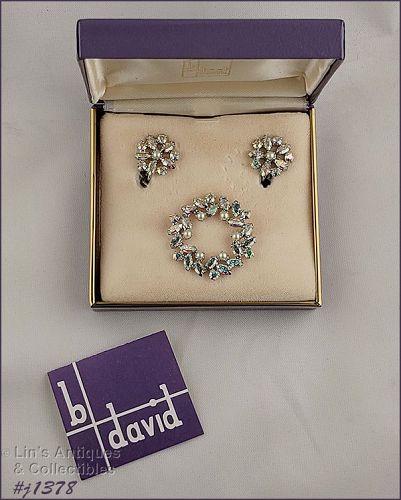 Vintage B David Pin and Earrings in Original Box