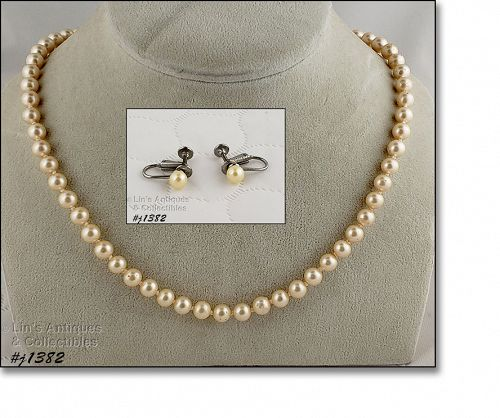 Vintage Faux Pearls Necklace and Earrings