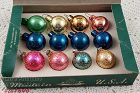 Vintage Glass Christmas Ornaments in Box