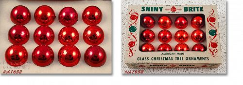 Shiny Brite Red Vintage Glass Christmas Ornaments