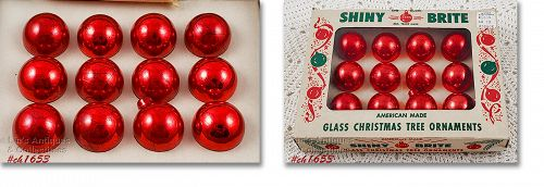 Shiny Brite Vintage Red Glass Christmas Ornaments
