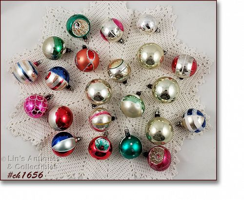 Assorted Vintage Glass Christmas Ornament Lot of 22