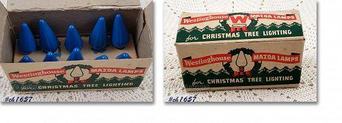 Vintage Blue C6 Christmas Bulbs in Box