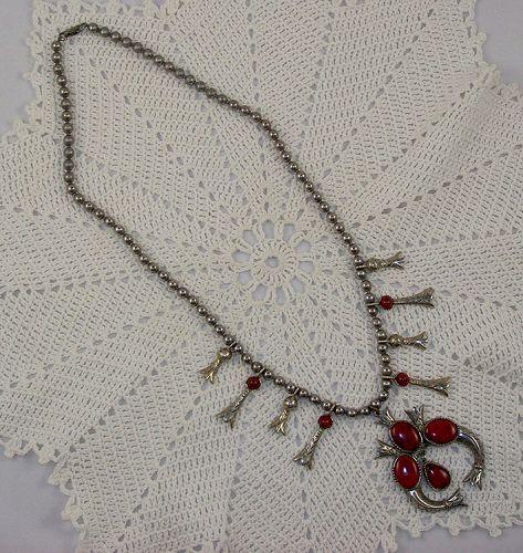 Vintage Signed Art Southwest Style Squash Blossom Necklace