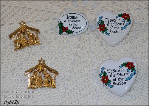 Lot of 5 Vintage Christmas Pins