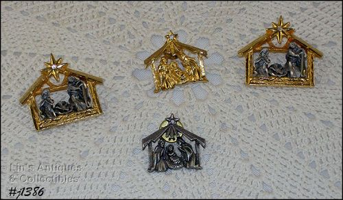 Lot of 4 Vintage Christmas Pins