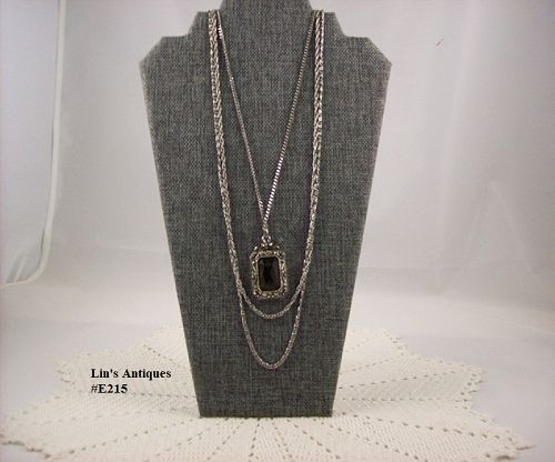 Vintage Signed Goldette Pendant with Three Silver Tone Chains