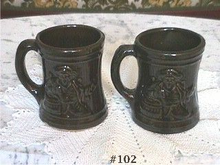 McCOY POTTERY VINTAGE BUCCANEER MUGS SET OF 2 EXCELLENT CONDITION