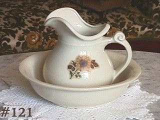 McCoy Pottery Pitcher and Bowl Sunflower Decal