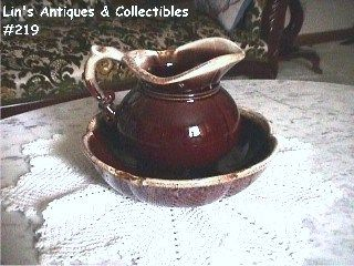 McCoy Pottery Brown Drip Pitcher and Bowl Mint Condition