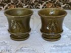 McCOY POTTERY CORINTHIAN PLANTERS SET OF 2 IN AVOCADO GREEN