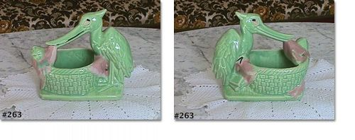 McCOY POTTERY VINTAGE STORK WITH BABY CHARTREUSE COLOR PLANTER
