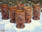 McCOY POTTERY -- SET OF 6 VINTAGE TIKI MUGS