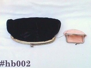 VINTAGE BLACK VELVET EVENING BAG WITH RHINESTONES ACCENT