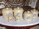 McCOY POTTERY VINTAGE BLUEFIELD CANISTER SET WITH CREAMER AND SUGAR