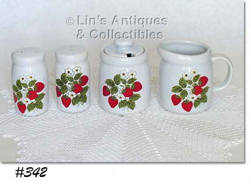 McCOY POTTERY STRAWBERRY COUNTRY SHAKER SET AND CREAMER AND SUGAR
