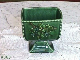 McCOY POTTERY -- ANTIQUE CURIO LINE GREEN PEDESTAL PLANTER