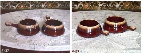 McCOY POTTERY SET OF 4 BROWN DRIP INDIVIDUAL SIZE CASSEROLES