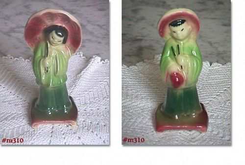SHAWNEE POTTERY VINTAGE CHINESE GIRL AND BOY FIGURINES