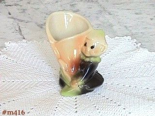 SHAWNEE POTTERY VINTAGE PIXIE WITH FLOWER PLANTER IN MINT CONDITION