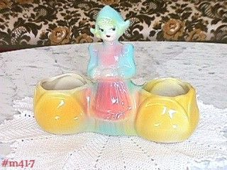 AMERICAN BISQUE DUTCH GIRL DOUBLE POTS VINTAGE PLANTER