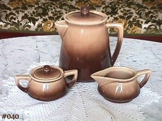 McCOY POTTERY WESTERN FLAIR COFFEE SET SUGAR CREAMER COFFEE SERVER