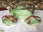 McCOY POTTERY DAISY TEA SERVICE TEAPOT CREAMER AND SUGAR