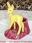 SHAWNEE POTTERY VINTAGE YELLOW DEER BY BURGUNDY STUMP PLANTER