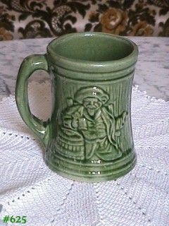 McCOY POTTERY BUCCANEER GREEN STONEWARE MUG MADE IN 1926