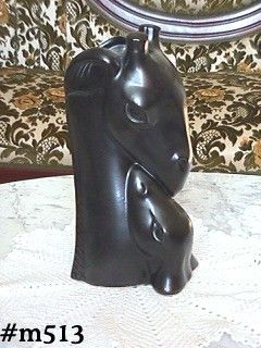 SHAWNEE POTTERY BLACK MATTE MOTHER GIRAFFE WITH BABY