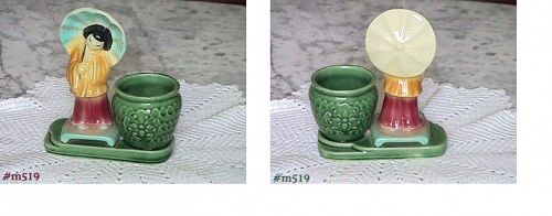 SHAWNEE POTTERY VINTAGE PLANTER ORIENTAL GIRL BY A PLANTER POT