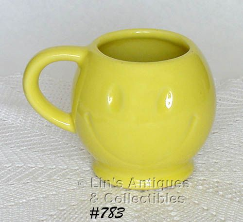 McCOY POTTERY SMILE FACE MUG LEMON YELLOW