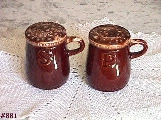 McCOY POTTERY BROWN DRIP SALT AND PEPPER SHAKER SET