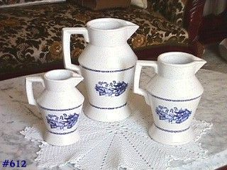 McCOY POTTERY 3 BLUE WILLOW PITCHERS IN 3 DIFFERENT SIZES