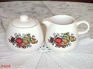 McCOY POTTERY SPICE DELIGHT CREAMER AND COVERED SUGAR SET