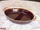 McCOY POTTERY -- BROWN DRIP DIVIDED BOWL