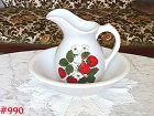 McCOY POTTERY VINTAGE STRAWBERRY COUNTRY PITCHER AND BOWL
