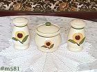 SHAWNEE POTTERY -- VINTAGE SUNFLOWER SUGAR BOWL AND SHAKERS