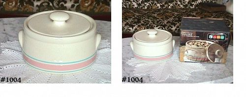 McCOY POTTERY STONECRAFT PINK AND BLUE CASSEROLE IN ORIGINAL BOX!