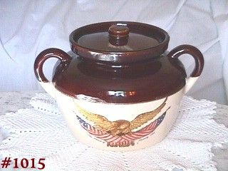 McCOY POTTERY SPIRIT OF 76 BEAN POT IN MINT CONDITION