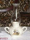 McCOY POTTERY VINTAGE CANDLE LAMP WITH GLASS CHIMNEY