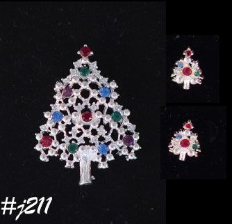 EISENBERG ICE SILVERTONE TREE PIN AND PIERCED EARRINGS