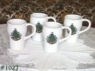 McCOY POTTERY 4 TALL SODA MUGS WITH CHRISTMAS DESIGN