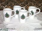 McCOY POTTERY -- 4 TALL MUGS WITH CHRISTMAS DESIGN!!!